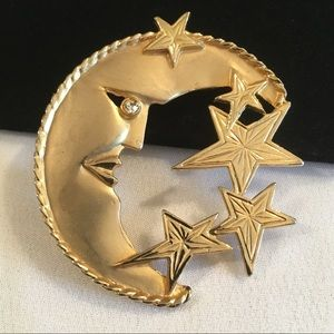 Vintage Park Lane Crescent Moon And Stars Brooch